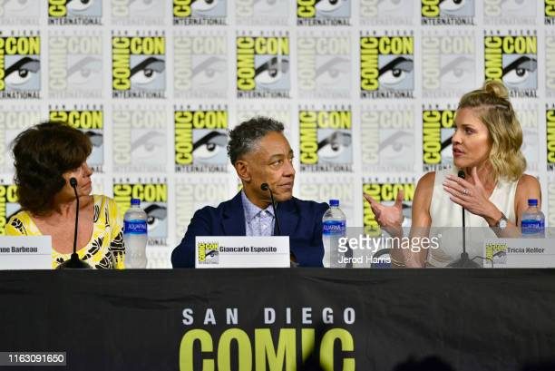 Adrienne Barbeau Giancarlo Esposito and Tricia Helfer speak at the Creepshow Panel at Comic Con 2019 on July 19 2019 in San Diego California