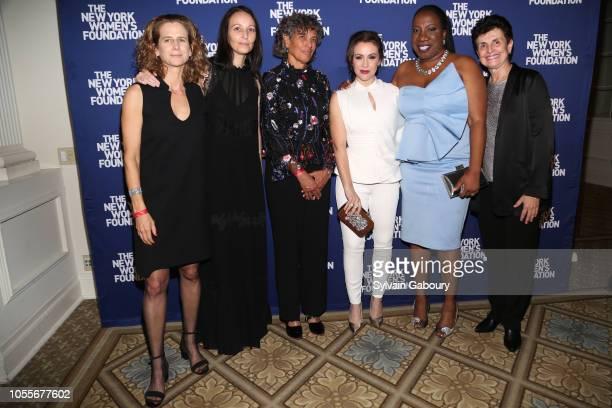 Adrienne Becker Rachel Gould Dr Mary Bassett Alyssa Milano Tarana Burke and Ana Oliveira attend The New York Women's Foundation Radical Generosity...