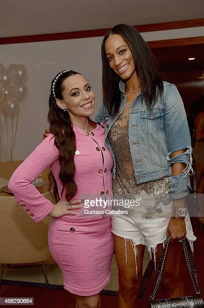 Adrienne Bosh and Alexis Welch attend Haute Living celebrates Loren Ridinger's birthday at Cipriani Downtown Miami on November 21 2015 in Miami...