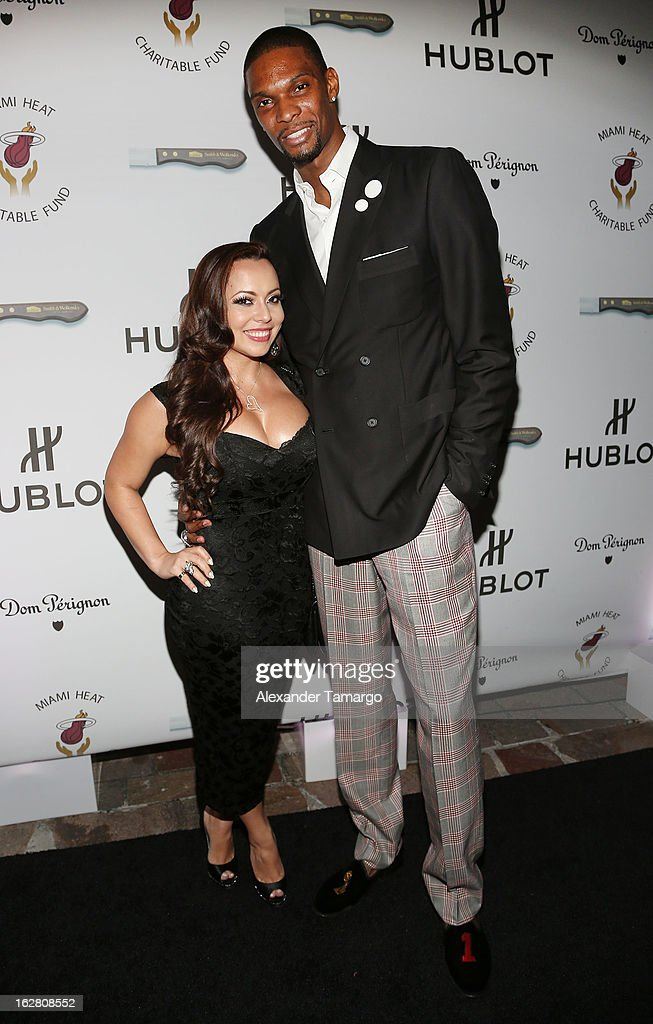 Adrienne Bosh and Chris Bosh attend the Miami HEAT Family Foundation night of 'Motown Revue' on February 27, 2013 in Miami, Florida.