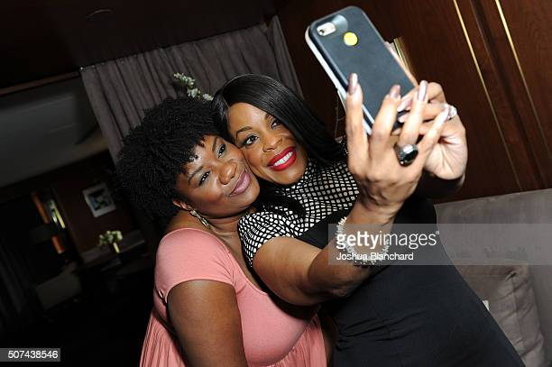Adrienne C Moore and Niecy Nash take a selfie at the Champagne Taittinger ANGELENO Celebrate Entrepreneurial Women In Hollywood at Sunset Tower Hotel...