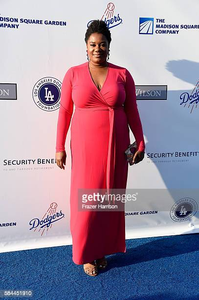 Adrienne C Moore arrives at the Los Angeles Dodgers Foundation Blue Diamond Gala at Dodger Stadium on July 28 2016 in Los Angeles California