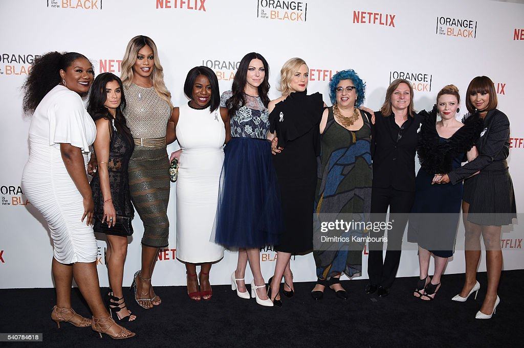 Adrienne C. Moore, Diane Guerrero, Laverne Cox, Uzo Aduba, Laura Prepon, Taylor Schilling, Jenji Kohan, Cindy Holland, Natasha Lyonne and Jackie Cruz attend 'Orange Is The New Black' premiere at SVA Theater on June 16, 2016 in New York City.