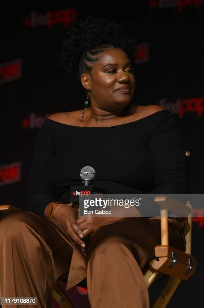 Adrienne C Moore speaks onstage at the Wonder Woman Bloodlines during New York Comic Con 2019 Day 2 at Jacobs Javits Center on October 04 2019 in New...