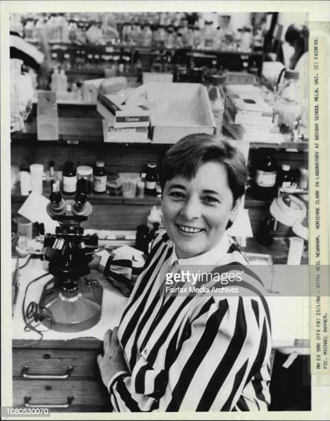 Adrienne Clark in laboratory at Botany School Melb Uni January 15 1986