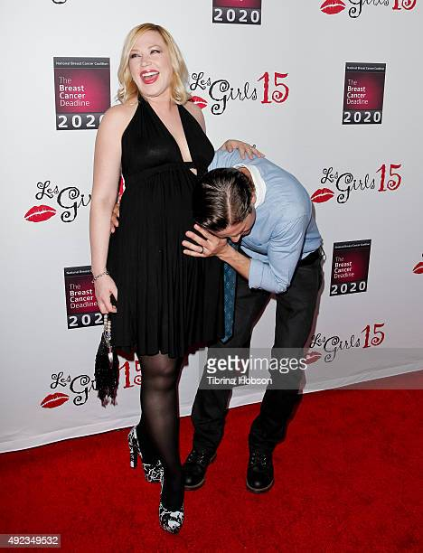 Adrienne Frantz and Scott Bailey attend the 15th annual Les Girls Cabaret at Avalon on October 11 2015 in Hollywood California