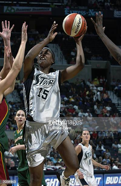 Adrienne Goodson of the San Antonio Stars goes up for the shot during the WNBA game against the Seattle Storm at SBC Center on May 24 2003 in San...
