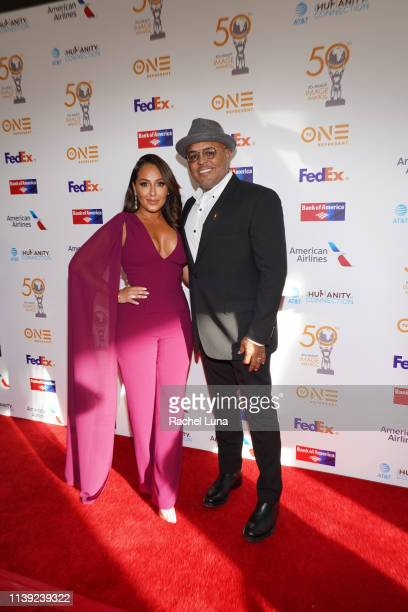 Adrienne Houghton and husband Israel Houghton attend the 50th NAACP Image Awards NonTelevised Dinner at Beverly Hilton Hotel on March 29 2019 in...