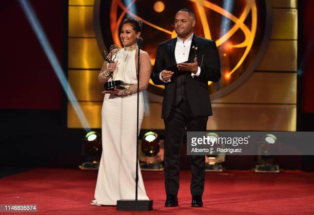 Adrienne Houghton and Israel Houghton speak onstage during the 46th annual Daytime Creative Arts Emmy Awards at Pasadena Civic Center on May 03 2019...