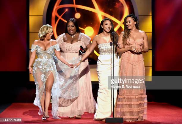 Adrienne Houghton Loni Love Jeannie Mai and onstage at the 46th annual Daytime Emmy Awards at Pasadena Civic Center on May 05 2019 in Pasadena...