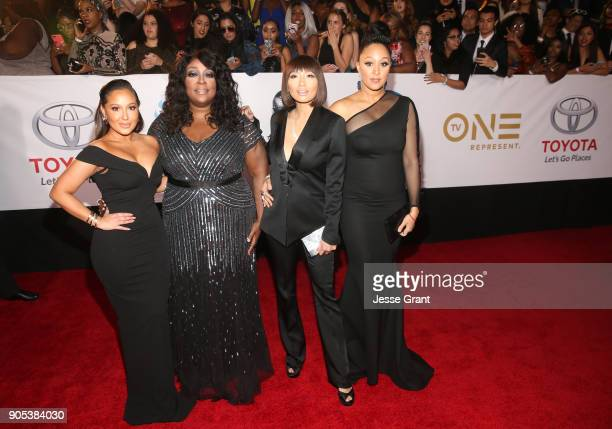 Adrienne Houghton Loni Love Jeannie Mai and Tamera Mowry attend the 49th NAACP Image Awards at Pasadena Civic Auditorium on January 15 2018 in...