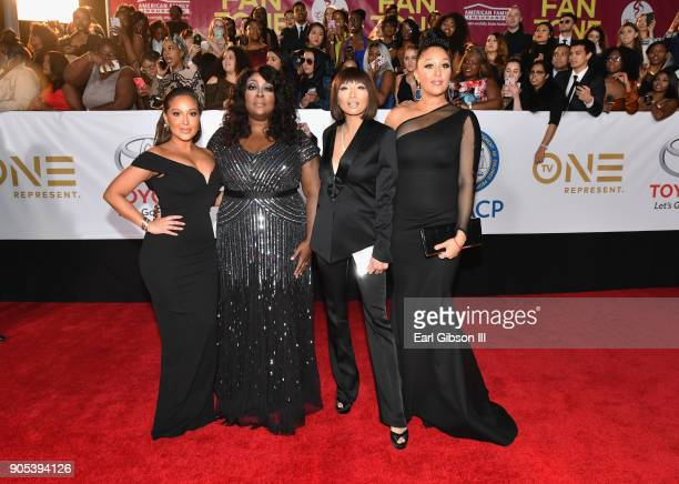 Adrienne Houghton Loni Love Jeannie Mai and Tamera MowryHousley at the 49th NAACP Image Awards on January 15 2018 in Pasadena California