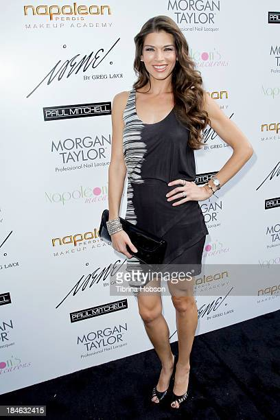 Adrienne Janic attends the Greg Lavoi spring 2014 runway presentation at Kyoto Gardens on October 13 2013 in Los Angeles California