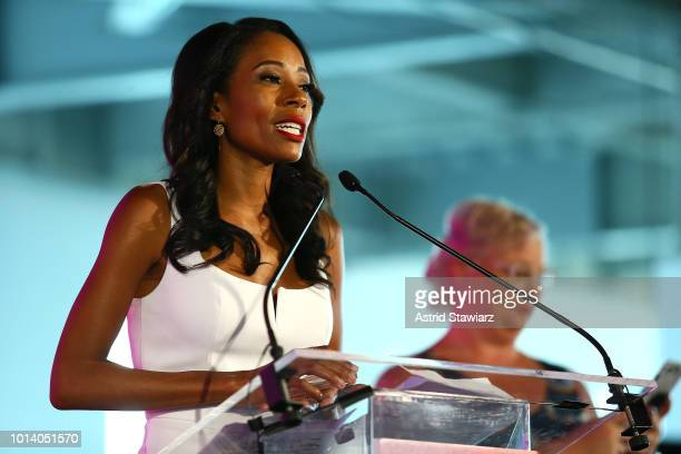 Adrienne Lawrence speaks at the #BlogHer18 Creators Summit at Pier 17 on August 9 2018 in New York City