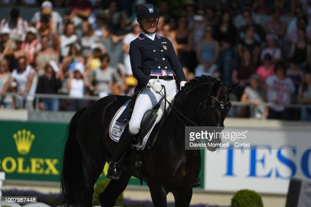 Adrienne Lyle of United States of America riding Salvino during the dressage individual Final Grand Prix of Aachen Freestyle to music CDIO Deutsche...