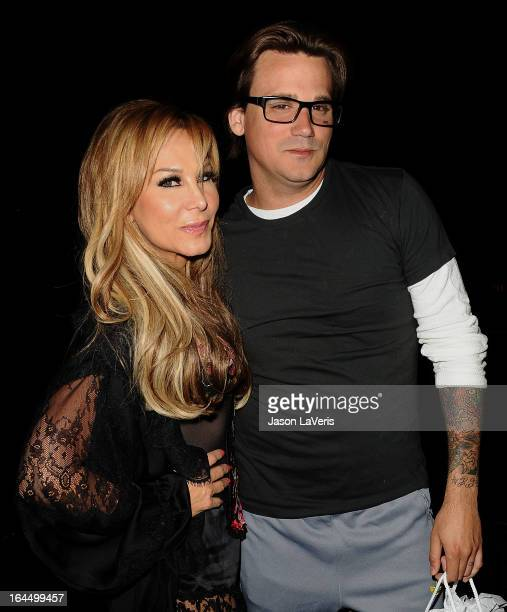 Adrienne Maloof and Sean Stewart attend Perez Hilton's 35th birthday party at El Rey Theatre on March 23 2013 in Los Angeles California