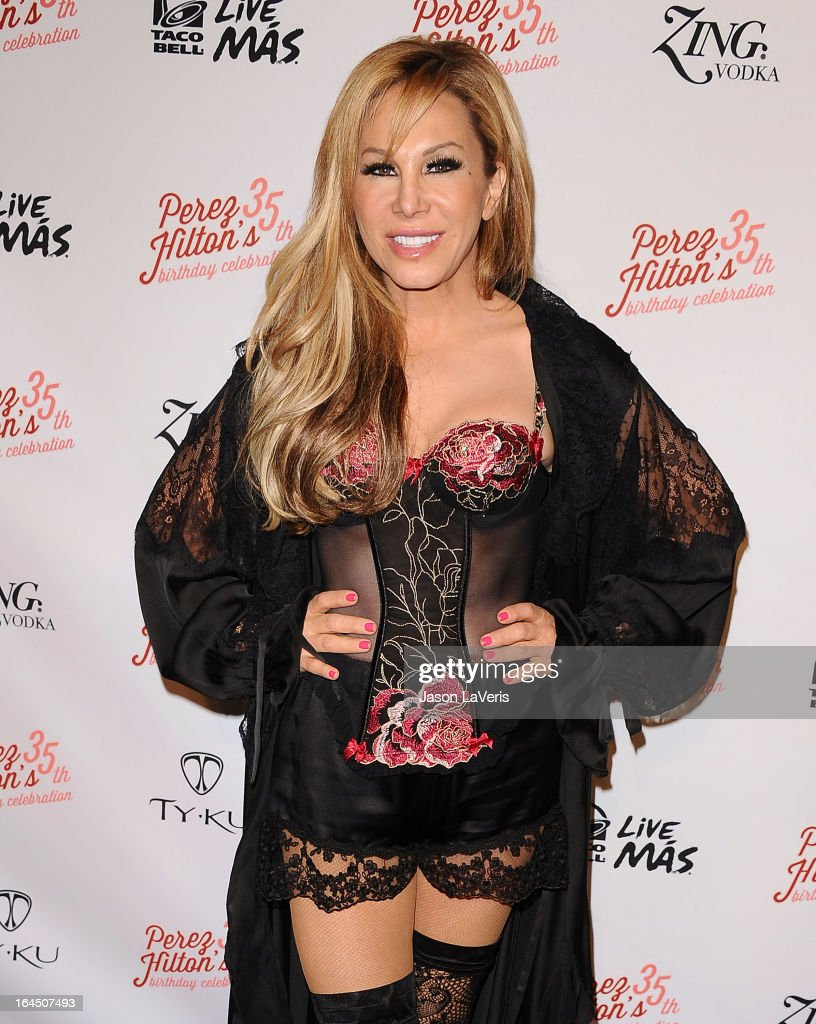 Adrienne Maloof attends Perez Hilton's 35th birthday party at El Rey Theatre on March 23, 2013 in Los Angeles, California.