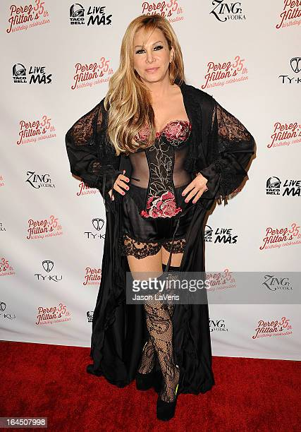 Adrienne Maloof attends Perez Hilton's 35th birthday party at El Rey Theatre on March 23 2013 in Los Angeles California