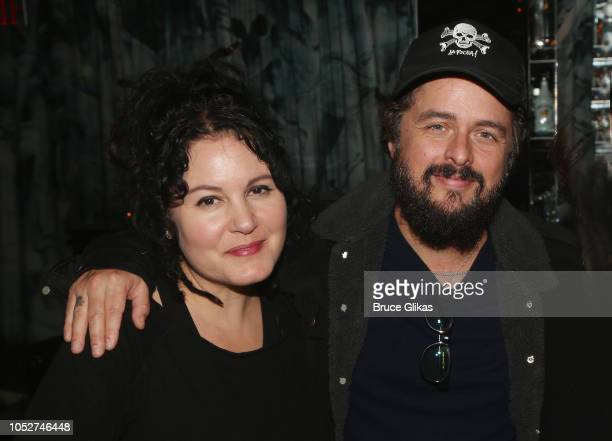 Adrienne Nesser and husband Billie Joe Armstrong pose at the 100th performance celebration for 'Head Over Heels' on Broadway at Hunt Fish Club NYC on...