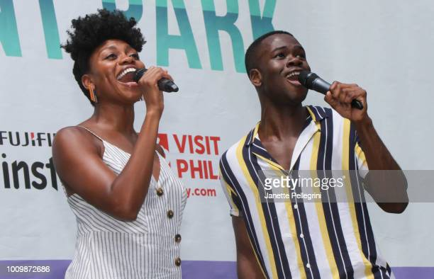 Adrienne Walker and Bradley Gibson from the cast of 'The Lion King' perform at 1067 LITE FM's Broadway in Bryant Park on August 2 2018 in New York...