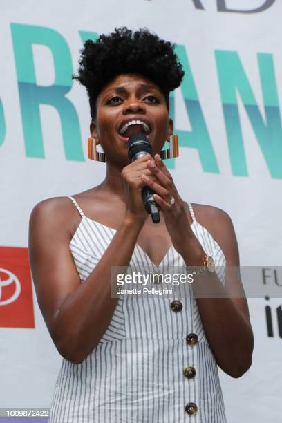 Adrienne Walker from the cast of 'The Lion King' performs at 1067 LITE FM's Broadway in Bryant Park on August 2 2018 in New York City