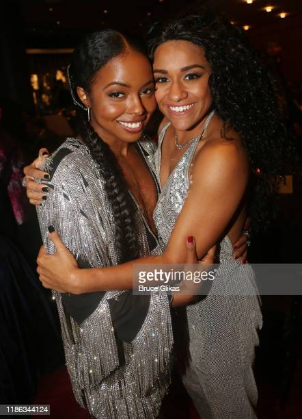 Adrienne Warren and Ariana DeBose pose at the opening night after party for Tina The Tina Turner Musical at Jazz at Lincoln Center on November 07...