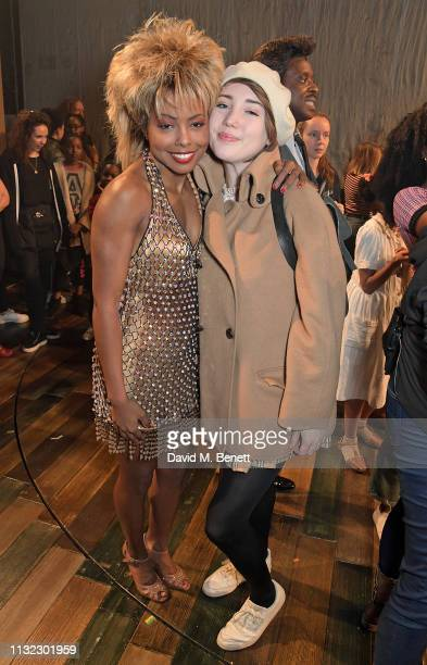 Adrienne Warren and Gaia Wise pose backstage at the West End production of Tina The Tina Turner Musical at The Aldwych Theatre on March 23 2019 in...