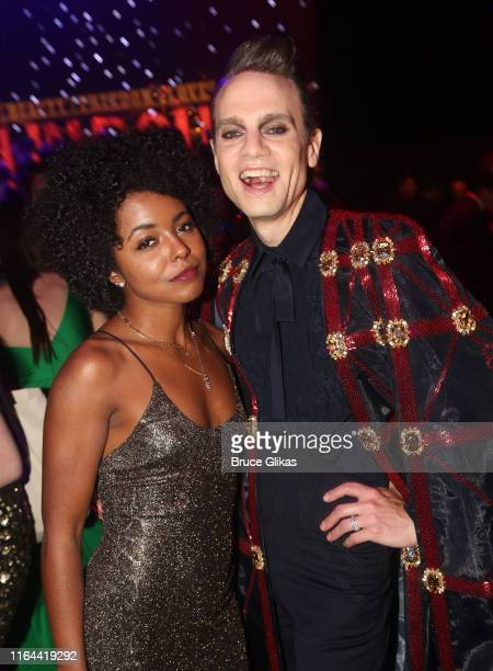Adrienne Warren and Jordan Roth pose at the opening night party for the new musical based on the film Moulin Rouge The Musical on Broadway at The...