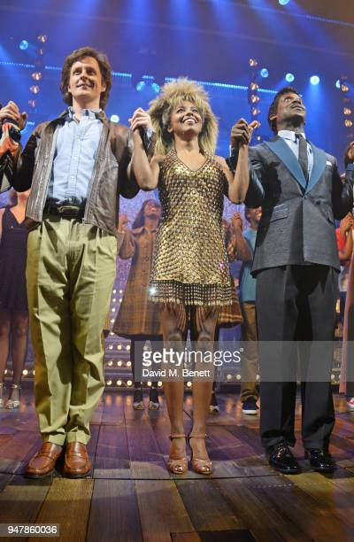 Adrienne Warren and Kobna HoldbrookSmith bows at the curtain call during the press night performance of 'Tina The Tina Turner Musical' at the Aldwych...