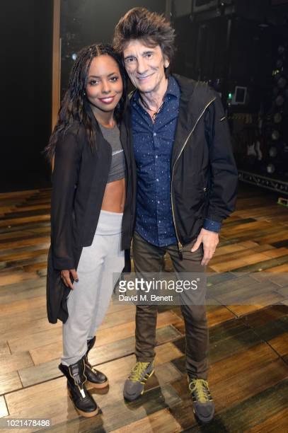 Adrienne Warren and Ronnie Wood pose backstage at the West End production of Tina The Tina Turner Musical at The Aldwych Theatre on August 22 2018 in...