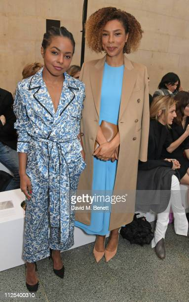 Adrienne Warren and Sophie Okonedo attend the Victoria Beckham show during London Fashion Week February 2019 at Tate Britain on February 17 2019 in...