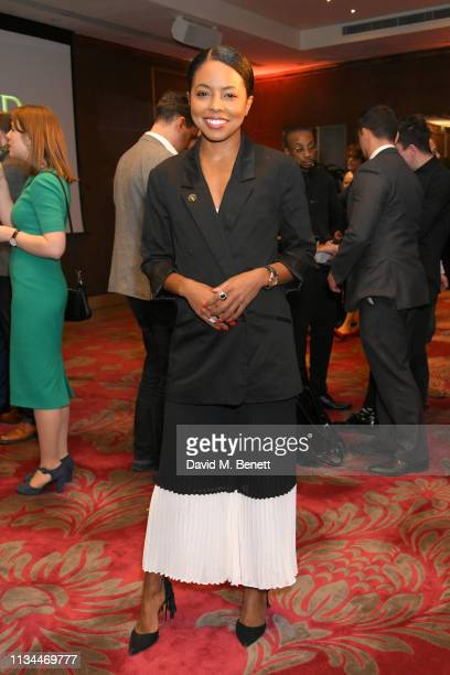 Adrienne Warren attends The Olivier Awards 2019 nominees luncheon at The May Fair Hotel on March 08 2019 in London England