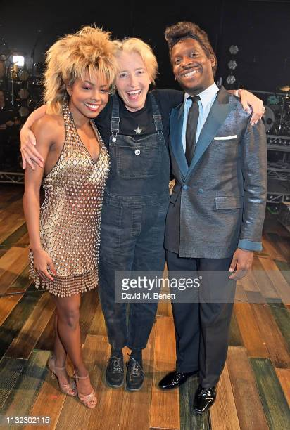Adrienne Warren Emma Thompson and Kobna HoldbrookSmith pose backstage at the West End production of Tina The Tina Turner Musical at The Aldwych...