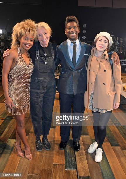Adrienne Warren Emma Thompson Kobna HoldbrookSmith and Gaia Wise pose backstage at the West End production of Tina The Tina Turner Musical at The...