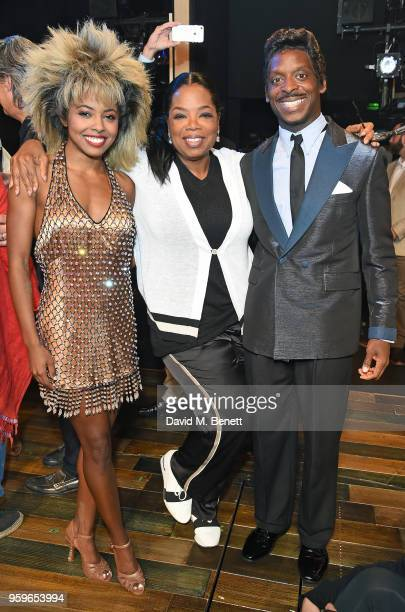 Adrienne Warren Oprah Winfrey and Kobna HoldbrookSmith pose backstage at the West End production of 'Tina The Tina Turner Musical' at Aldwych Theatre...