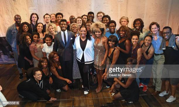 Adrienne Warren Oprah Winfrey and Kobna HoldbrookSmith pose with cast members backstage at the West End production of 'Tina The Tina Turner Musical'...