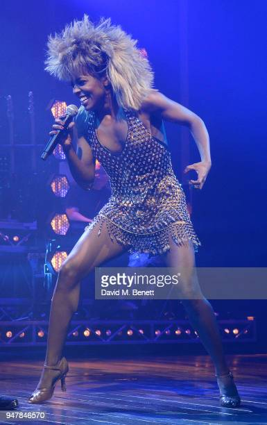 Adrienne Warren performs as Tina Turner during the press night performance of Tina The Tina Turner Musical at the Aldwych Theatre on April 17 2018 in...
