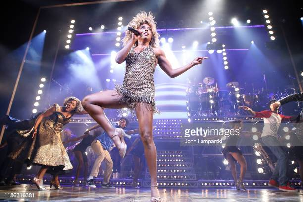 Adrienne Warren performs as Tina Turner during Tina The Tina Turner Musical Opening Night at LuntFontanne Theatre on November 07 2019 in New York City