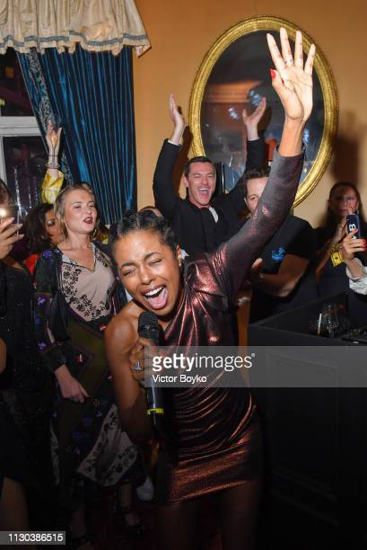 Adrienne Warren performs at the Victoria Beckham x YouTube Fashion Beauty After Party at London Fashion Week hosted by Derek Blasberg and David...