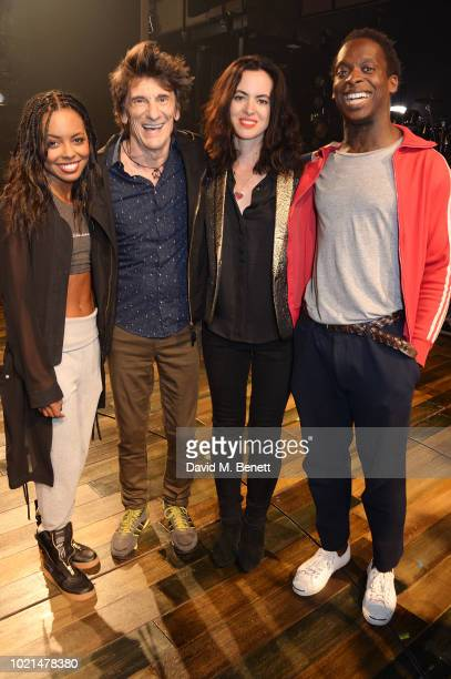 Adrienne Warren Ronnie Wood Sally Wood and Kobna HoldbrookSmith backstage at the West End production of 'Tina The Tina Turner Musical' at The Aldwych...