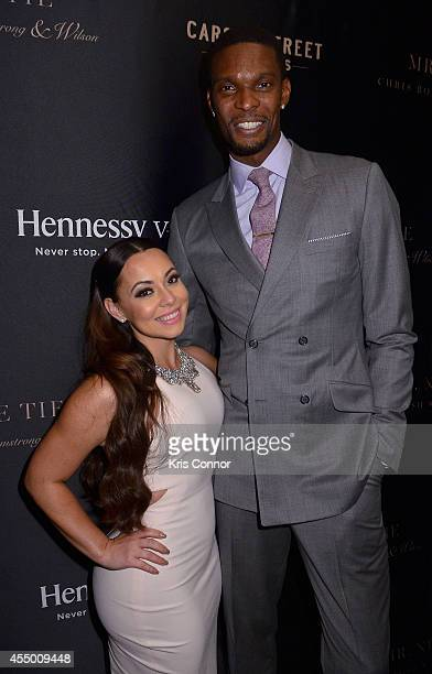 Adrienne Williams Bosh and basketball player Chris Bosh attend Chris Bosh and Hennessy VS Raise a Glass to Mr Nice Tie at Carson Street Clothiers on...