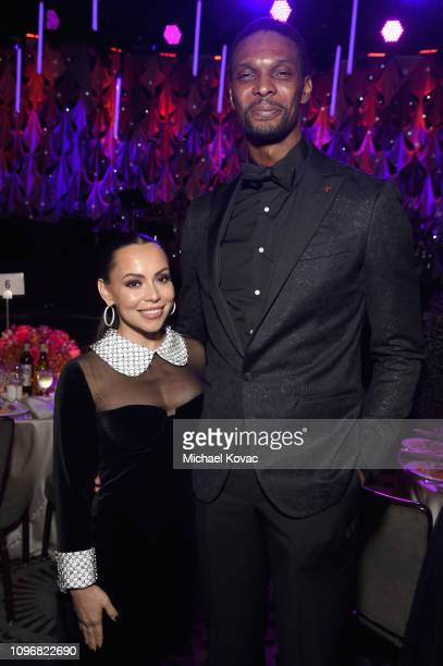 Adrienne Williams Bosh and Chris Bosh attend the PreGRAMMY Gala and GRAMMY Salute to Industry Icons Honoring Clarence Avant at The Beverly Hilton...