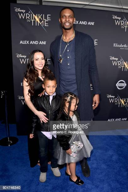 Adrienne Williams Bosh Noel Bosh Frida Bosh and Chris Bosh arrive at the world premiere of Disney's 'A Wrinkle in Time' at the El Capitan Theatre in...
