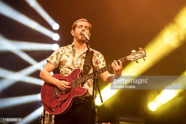 Adrián Bartol, bass player of Xoel López, perfoms on stage on July 21, 2019 in Santiago de Compostela, Spain.