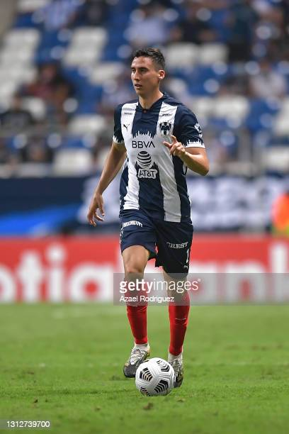 Adrián Mora of Monterrey drives the ball during a second leg match between Monterrey and Atletico Pantoja as part of Round of Sixteen of Concacaf...