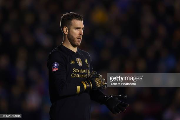 Adrián of Liverpool in action during the FA Cup Fourth Round match between Shrewsbury Town and Liverpool at New Meadow on January 26 2020 in...