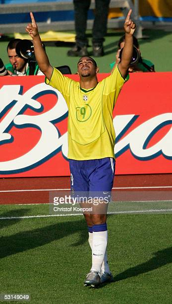 Adrinao of Brazil celebrates the winning goal during the Semi Final Match between Germany and Brazil for the FIFA Confederations Cup 2005 at the...