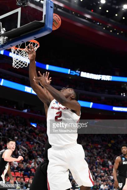 Adrio Bailey of the Arkansas Razorbacks attempts a layup over the Butler Bulldogs in the first round of the 2018 NCAA Men's Basketball Tournament...