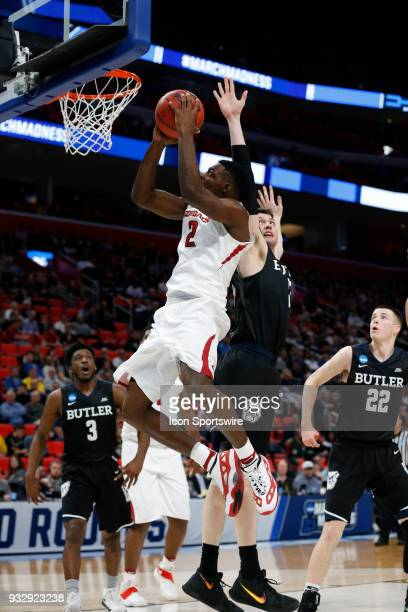 Adrio Bailey of the Arkansas Razorbacks goes up for a shot during the NCAA Division I Men's Basketball First Round game between the Arkansas...
