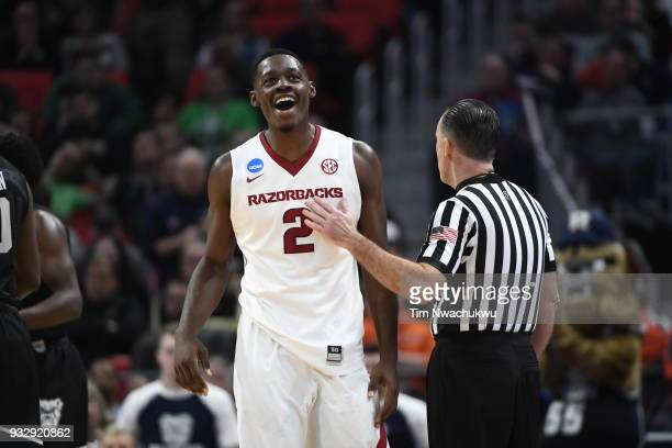 Adrio Bailey of the Arkansas Razorbacks reacts to a call in the first round of the 2018 NCAA Men's Basketball Tournament held at Little Caesars Arena...